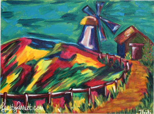 Oil painting_Windmill on the hill_feistyharriet_2016