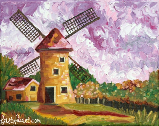 Oil painting_windmill with purple sky_feistyharriet_2016