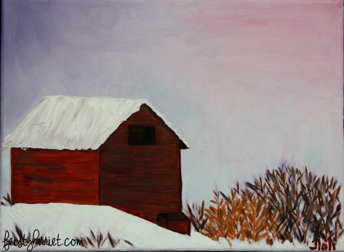 Oil painting_winter barn_feistyharriet_2016